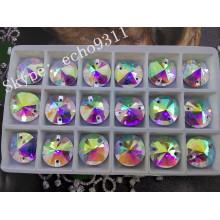 Ab Rivoli Sew on Round Crystal Stones for Garment Decoration (DZ-1041)
