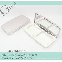 Rectangular compacto polvo compacto caso polvo envase con espejo AG-DM-1218, empaquetado cosmético de AGPM, colores/insignia de encargo