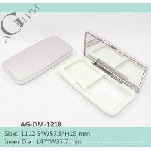 Прямоугольный компактный порошок дело/компактная порошок контейнер с зеркало AG-DM-1218, AGPM косметической упаковки, Эмблема цветов