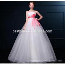 Weiße Farbe bodenlangen Tüll Ballkleid Hochzeit Kleid mit Schärpe