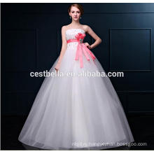 Белый цвет Длина пола тюль бальное платье свадебное платье с Sash