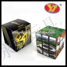 Cubo mágico relativo à promoção dos enigmas mágicos com logotipo feito sob encomenda e caixa de cor para anunciar