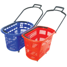 Factory directly selling shopping basket wheels plastic rolling shopping basket plastic shopping basket small
