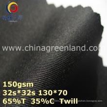 Twill Polyester Cotton Woven Black Fabric for Garment Cap (GLLML368)