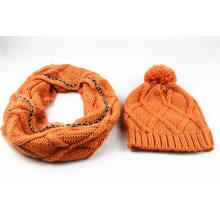 Мужские зимние унисекс теплый розовый шарф, Шапочка, комплект трикотажный шарф (SK171S)