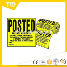 """POSTED Private Property"" Signs, Roll of 100"