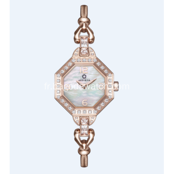 Montre de luxe de dames de mode d'or
