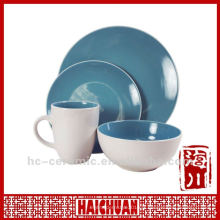 Vaisselle en grès 4pcs, assiette en porcelaine bleue
