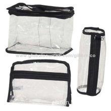 Clear Plastic Tote Cosmetic Makeup Bag Large Medium & Small Black Trim Train Bag