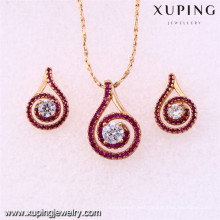 62092 Xuping fashion new designed gold plated women set jewelry with many stone