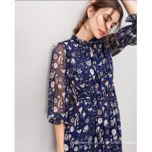 Vestido elegante de moda con estampado de manga 3/4 hada para mujer
