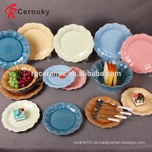 Verschiedene Farbe königlichen Stil billig Bulk-Porzellan Keramik-Salatteller / Geschirr