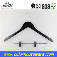 Schwarzes Holz Kleiderbügel mit clips