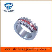 Fashion Red Zircon Wirecut Bague en bijoux en acier inoxydable