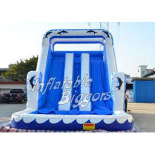 Kids Games Dolphin Inflatable Water Slide Blue / White With
