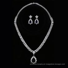 Conjunto-222 Xuping liga de zinco jóias de casamento cor de prata conjunto de noiva, brinco e colar conjunto de jóias de moda feminina