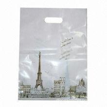 Recycling Ldpe Die Cut Plastic Bag Handle Bag For Supermarket , Carving Printing