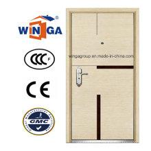 Competitive Luxury MDF Veneer Steel -Wood Armored Door (W-A8)