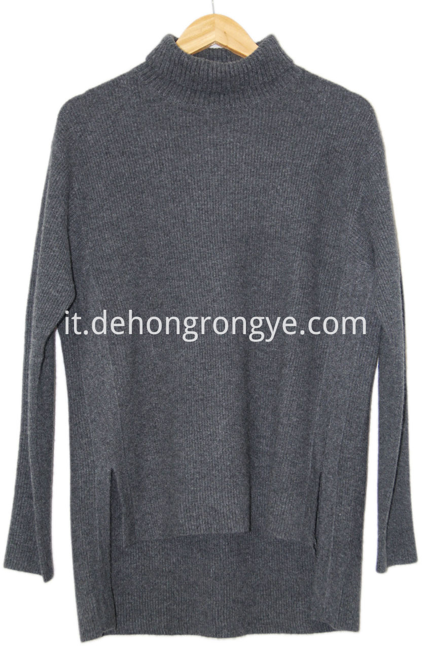 Charcoal Gray High Necked Cashmere Women S Sweater