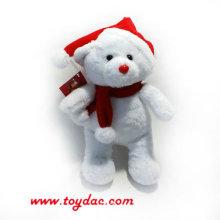 Плюшевый рождественский белый медведь