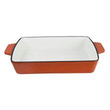 Plato rectangular de hierro fundido para hornear.