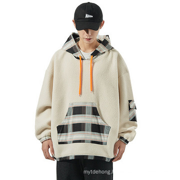 Loose Youth Warm Lamb Wool Casual Stitching Hoodie