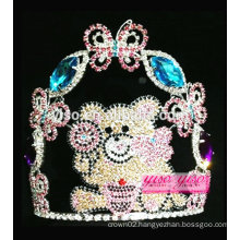 yiwu factory best design crystal butterfly with large bear tiara