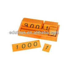 Materiales Montessori Pequeñas tarjetas de madera con caja (1-1000)