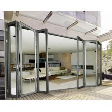 Type de pliage Double porte vitrée en aluminium glacé