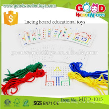Wooden baby activity threading toy- Colorful kids Wooden threading toys game- Cheap educational Lacing board educational toys MD