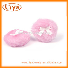 Liya pink plush powder puff with satin ribbon