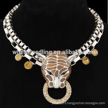 Retro exaggerated punk leopard pendant short chain necklace