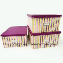 Stripe Printing Paper Storage Boxes Ensemble de 3