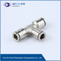 Air-Fluid Nickel-Plated Brass Equal Tee Connector