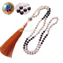 Jóias de Yoga, 108 Preto Brilhante Moonstone Lotus Mala Beads Tassel Colar