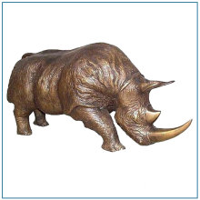 Metal Craft Life Size Garden Bronze Rhinoceros Statue