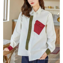 Women Contrast Color Big Size Irregular Blouse New Lapel Shirt