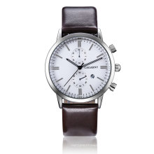 Cagarney Multifunction Wristwatch 2pushers Leather Strap Watch