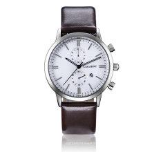 Cagarney multifunções relógio de pulso 2pushers couro pulseira de relógio