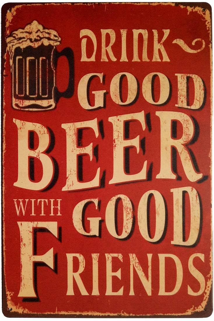 Vintage wine labels beer tin sign