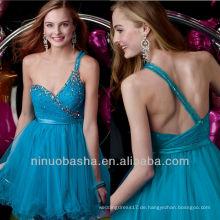Blaue schlanke Band Eine Linie Ein Schulter Sequin Kristall Mini Kurze Abschlusskleid Brautkleid