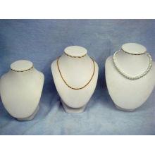 Carrinho de exposiço branco da jóia da colar do couro do plutônio (NS-BL-N1-N2-N3)