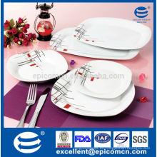 20PC-EX7574 con la calcomanía simple y el precio más barato cuadrado de la cena de la porcelana blanca