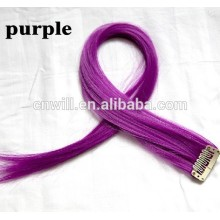 Highlight Straight Hair Colored Colorful single Clip On In synthetic Hair Extension Hair piece