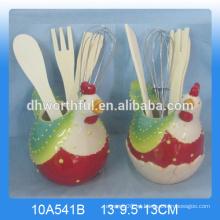 El sostenedor más popular del utensilio del gallo de cerámica para la cocina