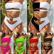 Fashion Sexy Metal Buckle Tube Top Bandage Bikini Swimsuit