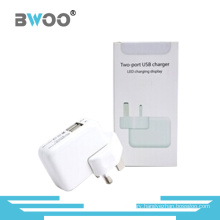 UK Plug Two-Port USB Travel Charger with LED Charging Display