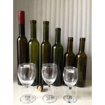 Colored Glass Wine Bottles with Cork