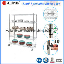Estantería de la cocina del restaurante de la placa del cromo del metal de la alta calidad con las ruedas
