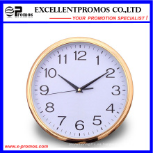 Marco de oro de impresión de logotipo redondo reloj de pared de plástico (item12)